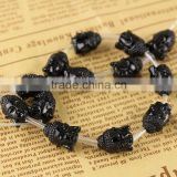SB6261b Wholesale Resin Black buddha face beads