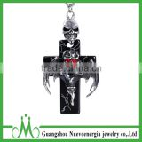 Hot sale product prayer cross necklace combination skull pendant with CZ red eye