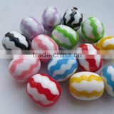 Zig Zag Chevron Print beads Mixed color ,Fashion Resin Acrylic Chevron Beads for Kids Chunky Beads Necklace