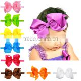 Solid colors Baby 6 inches bow large hair Bow with elastic headband boutique Ribbon Bow Headbands girl Hair Bows CB-3631