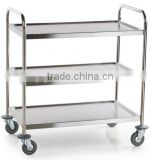 "Choice Knocked Down 18 Gauge Stainless Steel 3 Shelf Utility Cart - 28"" x 16"" x 32"""
