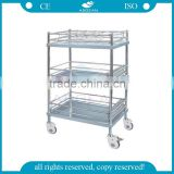 AG-SS055 CE ISO Three layers metal frame stainless steel hospital cart trolley                                                                                                         Supplier's Choice