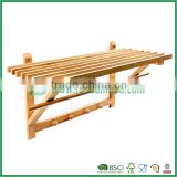 Wall Coat Towel Rack With 4 Hooks Bamboo 40 X 60 X 35 Cm