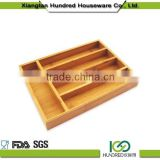 Hot Sell Cutlery Bamboo Box set,kitchen cutlery tray Bamboo Kitchen Drawer Organizer