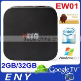 Factory EW01 Windows8.1 Android 4.4 Intel Bay Trail-T Ethernet Wifi Google Digital TV Converter Box
