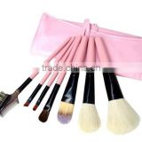 7pcs pink natural cosmetic travel tool kit/private label makeup brush set/china manufacturer/make up tool bag products china