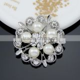 Hot style Chic elagant jewelry Fashion brooch simple brooch silver round pearl crystal rhinestone brooch pin
