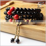 Handmade Tibetan Elastic String Natural Black Agate Cinnabar 108 Prayer Beads Wrap Bracelet Mala