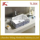 New Design Sanitary Ware Bathroom Ceramic Sink Above Counter Wash Basin Square Art Basin