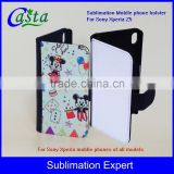 Blank Fashion Sublimation cover Tablet PC Case Leather wallet Phone holster For Sony Xperia Z5