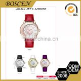 Top Quality Attractive Glass Mineral Stainless Steel Bell And Rose Quartz Watches