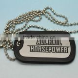bulk promotional items logo diy cheap wholesale army necklace /dog tags with covering rubber