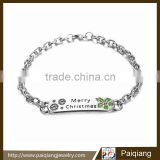 2015 simple design creative engrave Merry Christmas alloy bracelet Image