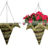 Green Moss and Brushwood Star Cone hanging planter -Moss Cone hanging basket - Moss cone flower pot