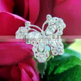 High Quality Silver Plated Mini Butterfly Rhinestone Wedding Bridal Bouquet Jewelry Pin