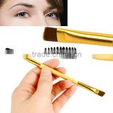 1Pcs Newly Design Makeup Tool Bamboo Handle Double Eyebrow Brush+Eyebrow Comb Makeup Brush