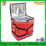 red insulated pizza delivery bag with aluminum coil insulation