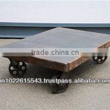 Industrial furniture coffee Table cart , Vintage Coffee table with Wheels