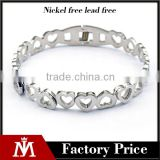 Simple Design Women Wedding Bracelet Silver Stainless Steel Heart Bangle Cuff Jewelry