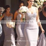 Wholesale Good Quality New Cheap Lace And Beaded formal Long Sheath Bridesmaid Dress With Straps LB17