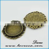 Glass cabochons jewelry accessory pendant settings,zinc alloy charm for bracelet accessories