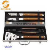 5pcs stainless steel barbecue grill set with aluminium box