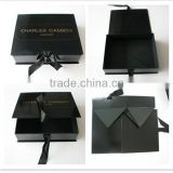 Black Man Suit Box With Logo Hot White Embossing ,Customized Size Flat Packaging Box For Garments