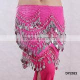 Tribal velvet 3 rows of wavy coins belly dance coins hip scarf belly dance hip belt with coins
