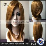 Charm Straight Natural Golden Color Synthetic Wig Classic Women Hair Wigs Women's Brown Wigs Image