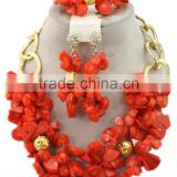 Gold-Plated Melon Seeds Coral Beads Nigerian Bridal Jewelry Set