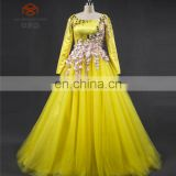 Real Dress Customized Muslim Floor Length Satin 3D Flower Long Sleeve Ball Gown Yellow Dress