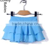 Pictures fashionable skirts 2016 kids sky blue ruffle midi skirt