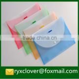 PP stationery transparent matt colorful document bags with button/hook and loop/string closure