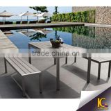 Sweet popular Patio plastic wood WPC dining table and lounge chair Outdoor Garden furniture