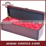 Red wine color wine wooden box carrier, wine bottle holder for 750ML single bottlle, Luxury liner,makes unique gift