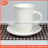 arabic coffee cup set white porcelain ceramic wine and tea cup and saucer with finger buckle handle