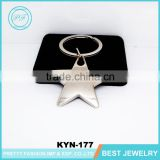 Cheap five-pointed star metal custom keychain simple pentagram key chain for promotional gifts