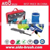 10pcs car wash tool kit/ water bucket/wheel brush/interior cleaning brush/foldable dust brush