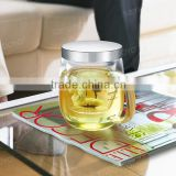 Free Samples! 370ml Glass Tea Cups with Glass Strainer/ Filter/ Infuser and Stainless Steel Lid on Promotion