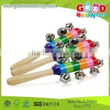 2015Cheap And Hotsale Colorful Jingle Bells Stick Baby Instrument toy