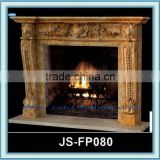 yellow natural stone carved interior fireplace surround