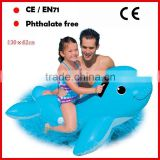 Blue color PVC inflatable seal shape floating riders for kids