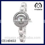 fashion women's white ceramic watch with zirconia stone*ceramic chain bracelet wristwatch