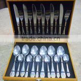 24 pcs stainless steel cutlery set with wood case popularly