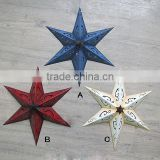 Antique Decorative Tri Wall Hanging Metal Five Pointed Star Christmas Party Decoration                                                                         Quality Choice