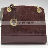 Private label shiny PU leather ladies shoulder handbag