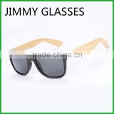 JMP610 Black Plastic Way Sunglasses with Natural Bamboo Temples