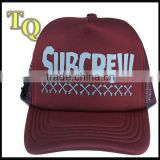 red wine mesh running wholesale trucker baseball cap / mesh curved bill trucker hat snapback cap
