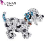 Animal silver plated large rhinestone cute black dog brooch