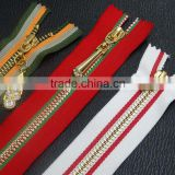 3#,4#,5# colorful stripe metal zipper,auto lock close end zipper for jeans wholesale